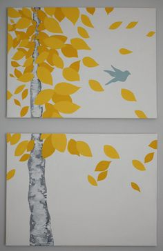 cool painting idea - very natural and organic for a soothing feeling but still with a pop of color!