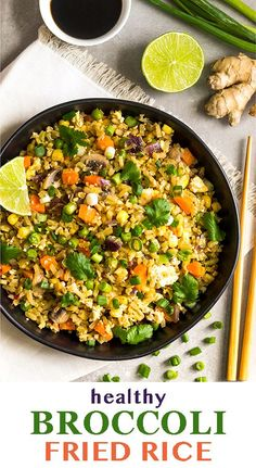 A healthy spin on fried rice, this broccoli fried rice is made from riced broccoli. Packed with veggies and plant based protein - a delicious side dish! - Eat the Gains Asian Recipes, Real Food Recipes, Vegetarian Recipes, Healthy Recipes, Ethnic Recipes, Healthy Dinners, Healthy Habits, Yummy Recipes, Broccoli Fried Rice