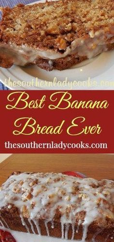 The Southern Lady Cooks Best Banana Bread Ever More (best sugar cookies banana bread) Nut Bread Recipe, Quick Bread Recipes, Banana Bread Recipes, Cooking Recipes, Cooking Kale, Banana Bread Icing Recipe, Cooking Ideas, Banana Bread Brownies, Jam Recipes