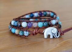 Bohemian beaded leather wrap bracelet, double, Mixed gemstones, Blue, Brown, Good Luck charm, silver elephant, trendy boho chic, hipster