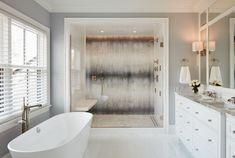 Not a Modern Farmhouse - Transitional - Bathroom - Chicago - by Reynolds Architecture- Design & Construction Modern Farmhouse Bathroom, Modern Bathroom Design, Illinois, Dream Shower, Dream Bath, Glass Shower Enclosures, Shower Surround, Large Shower, Style Tile