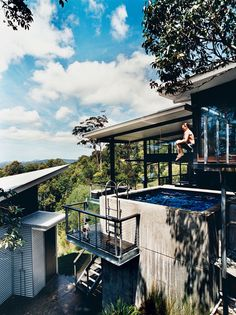 tinbeerwah-house-pool-portrait. He is jumping from the 3rd level master bedroom deck into 2nd level pool ...