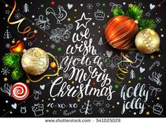 Black vector card with realistic  balls, decorations. Chalk hand drawn elements on blackboard. Rooster. 3D. Merry Christmas lettering inside the fir tree.