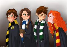 The big four in the four Hogwarts houses~ Hiccup (Hufflepuff), Rapunzel (Ravenclaw), Jack (Slytherin), Merida (Gryffindor). I also like the brunette versions of Rapunzel and Jack Disney Hogwarts, Harry Potter Disney, Jack Frost, Disney Crossovers, Disney Memes, Arte Disney, Disney Fan Art, Disney Magic, Disney And Dreamworks