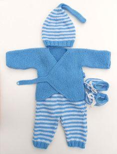 bébé  layette  tricot  laine  garçon  bonnet  chaussons  cache-cœur   barboteuse  rayure  ciel  lutin  brassière  gilet  fait-main  made in  France 75f2decf3ee
