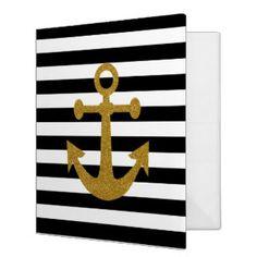 Black White Stripes Gold Anchor Glitter Print Binders