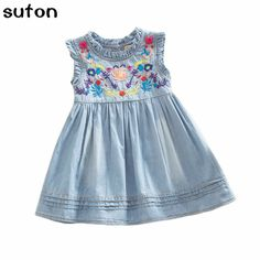 Girls Denim Dress 2017 Princess Dress Embroidered Sleeveless High Quality Casual Comfortable Brand Children's Clothing 2-6 Years