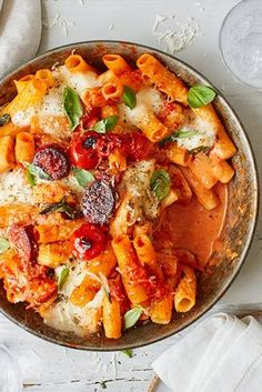 Rustle up this comforting pasta bake for a flavour-packed midweek meal. Featuring chunks of smoky chorizo, a fragrant tomato sauce and gooey cheese, it is perfect for cosying up with on cooler nights. | Tesco