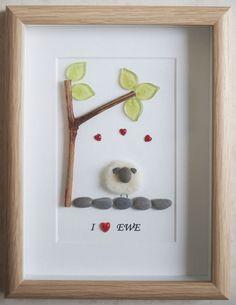 Pebble Art framed Picture Sheep I love EWE
