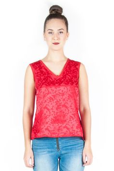 Red Shimmer with Matte Blotch Print Shell