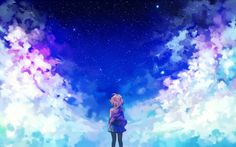 Beautiful fan art for Beyond the Boundary. I love the color and animation in this anime.
