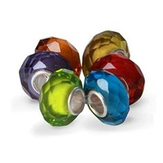 This Jewel Tone Crystal Murano Glass Bead Bundle features six beads fashioned of faceted glass. Each barrel bead is made of Murano glass, blown to measure in diameter, with a sterling silver core. This assortment includes vivid lime green, Murano Glass Beads, Faceted Glass, Pandora Bracelets, Pandora Charms, Bling Jewelry, Body Jewelry, Jewel Tones, Wholesale Jewelry, Sterling Silver
