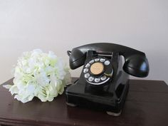 Vintage rotary dial black desk by DaisysVintageMarket on Etsy