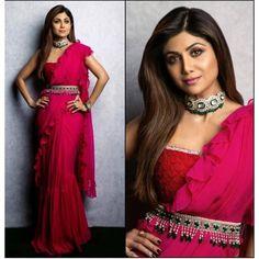 Shilpa Shetty in Saree Images - Buy lehenga choli online Patiala, Churidar, Salwar Kameez, Indian Designer Outfits, Indian Outfits, Indian Dresses, Bollywood Saree, Bollywood Fashion, Saree With Belt