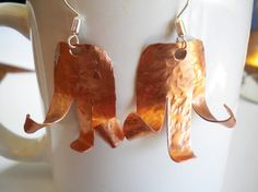 Copper Hammered Abstract Tulip Shaped Earrings by TrueSelfStudio, $22.00
