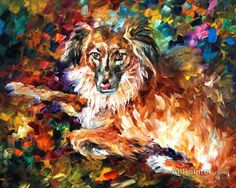 DOG 2 — Palette knife Oil Painting on Canvas by Leonid Afremov - Size discount coupon - on Wanelo Simple Oil Painting, Oil Painting For Beginners, Oil Painting Texture, Oil Painting Techniques, Oil Painting On Canvas, Canvas Art Prints, Painting Videos, Painting Art, Diego Rivera