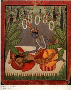 radha asleep with krsna in a bower. Mewar, India ca. 1700