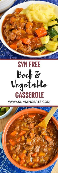 Slimming Eats Syn Free Beef and Vegetable Casserole - gluten free dairy free paleo instant pot slow cooker Slimming World and Weight Watchers friendly - April 28 2019 at Slow Cooker Slimming World, Slimming World Dinners, Slimming World Recipes Syn Free, Slimming Eats, Slimming World Beef Casserole, Slimming World Beef Stew, Slow Cooker Recipes, Cooking Recipes, Healthy Recipes