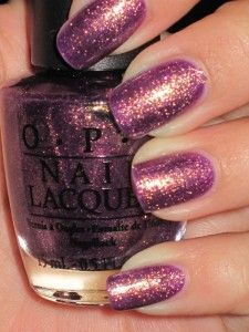 It's only this purple in direct sunlight, at a certain angle, but this is my fall color. for sure. it's GORGEOUS ON. planning to hoard a few bottles. much more gold than pic shows. OPI- It's my year