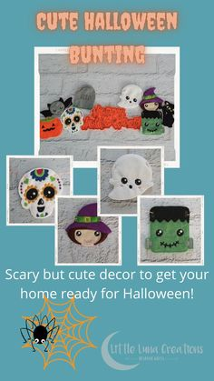 Cute handcrafted Halloween themed bunting with 8 felt 'characters'. Perfect decor for your Halloween party or window display. This scary but cute Halloween banner will be a family favourite and brought out every year to give your home the spooky feel at Halloween! Halloween Bunting, Halloween Decorations For Kids, Halloween Make, Halloween Themes, Cute Gifts, Scary, Snoopy, Teddy Bear, Felt