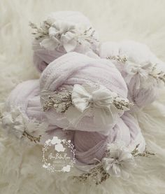 Size | Newborn Color | Lavender Details | Delicate Silk Bow adorns Vintage Lace, dried flowers on a Silk Tieback. Wrap is 2 yards of hand dyed cheesecloth Care | Spot cleanNote | Product intended as a photo prop. Do not leave baby unattended.Photo | Ama Bella Rosa