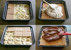 Tahle mňamka je na přípravu opravdu jednoduchá a nepeče se. Budeme potřebovat: 2 bal.vanilkový pudink 700 ml studeného mléka 1/3 šálek arašídového másla / nemusí být / 240 ml smetany na šlehání 27 ks máslových sušenek 3 ks banánu 60 g čokoláda 2 šálky moučkového cukru 1/4 šálek másla