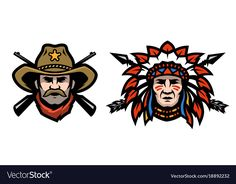 Head of cowboy and indian vector image on VectorStock Chiefs Mascot, Indian Illustration, Eagle Art, Cowboys And Indians, Headdress, Adobe Illustrator, Native American, Vector Free, Branding