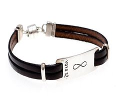 Unisex Israeli Handmade Leather Bracelet with the Infinity Sign Engraved on Silver Plate - Black or Brown - Customizable & Made per Order