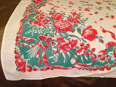 Vintage Floral Tablecloth. Flowers and fruit galore via Etsy