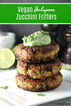 After creating upwards of 300 recipes, there are a few that are just permanent staples in my cooking routine. These vegan Jalapeño Zucchini Fritter are one of them! Vegan Vegetarian, Vegetarian Recipes, Vegan Food, Burger Recipes, Vegan Meals, Lunch Recipes, Vegan Parmesan, Spring Recipes, Plant Based Recipes