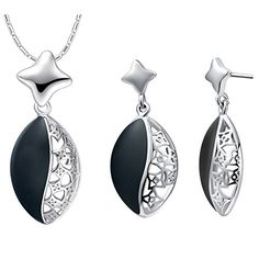 925 Silver Store Fashion Wedding Jewelry Sets 925 Sterling Silver Necklace Set Black Pendant Earrings White Joyeria Earing T463 handmade silver jewelry >>> You can get more details by clicking on the image. Note:It is Affiliate Link to Amazon.