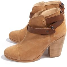 Rag & Bone Leather Harrow Ankle Boot (€295) ❤ liked on Polyvore featuring shoes, boots, ankle booties, botas, heels, ankle boots, camel, short boots, leather ankle bootie and leather boots
