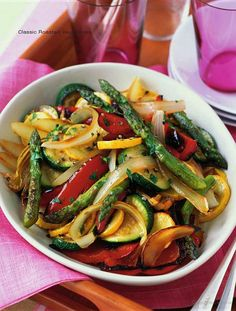 Roasted Veggies  2 medium red peppers,  1 medium zucchini, 1 medium yellow squash,  1 medium sweet onion 1 lb thick asparagus 3 cloves garlic 4 tsp EVOO 1 tsp balsamic vinegar 1/2 tsp basil 3/4 tsp salt 1/4 tsp pepper  Directions 1. 450 oven. 2. Cut Veggies in lg bowl.  Add oil, vinegar, basil, salt, and pepper. Toss well to evenly coat with seasonings. Divide the veggies between 2 baking sheets sprayed with oil. 3. Bake the veggies, tossing from time to time,, 25-30 minutes.