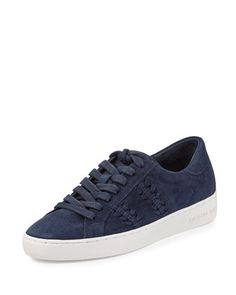 Stevie+Woven+Suede+Low-Top+Sneaker,+Navy+by+MICHAEL+Michael+Kors+at+Neiman+Marcus.