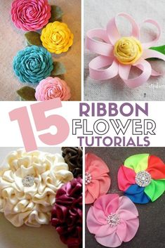 You can create easy ribbon flowers with these step by step tutorials. Ribbon flowers are great for headbands, dresses, home decor and so much more! #easyribbonflowers #ribbonflowerheadbands #stepbystepribbonflowertutorials #thecraftyblogstalker #diyflowers Diy Ribbon Flowers, Ribbon Flower Tutorial, Easy Paper Flowers, Mason Jar Crafts, Mason Jar Diy, Trending Crafts, Construction Paper Crafts, Tissue Paper Crafts, Popular Crafts
