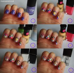 Tropical Floral Nail Art Step-By-Step Tutorial