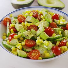 Don't confuse this with guac — there's way more depth of flavor. You are, however, totally welcome to eat it with chips. (Just know it tastes amazing with out 'em.) #easyrecipe #avocado #salad #summer #food Fruit Salad, Cobb Salad, Food, Recipes, Eten, Hoods, Meals, Fruit Salads