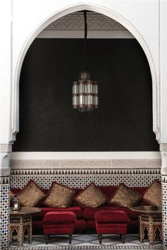 Salons with a Moroccan atmosphere - Trendy Home Decorations Moroccan Restaurant, Deco Restaurant, Moroccan Design, Moroccan Style, Design Marocain, Arabic Decor, Morrocan Decor, Small Space Interior Design, Moroccan Interiors