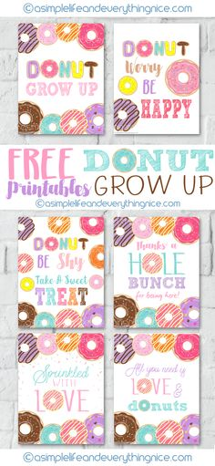 Free Donut Grow Up and Donut Party Printables - A Simple Life and Everything Nice
