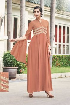 Brown-Stand-Collor-Floor-Touch-Embroidered-Long-Fancy-Sleeve-Anarkali-Style-Gown-10903-12870  Catalog No : 4129  WWW.LKFABKART.COM  #wholesalegown #wholesalegownsupplier #gowndealers #gownexporters #gownmanufacturer #gownstockist #designer #festivewear #occasionalwear #trendy #gorgeous #gown #worldwide #lkfabkart