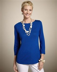 """Illusion Stripe """"Briley"""" Top in Majestic Blue (also available in 3 other luscious sherbet colors)"""