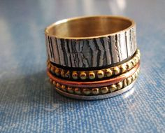 RING  - SPINNING -  spinner  - TRIPLE  -  Wide - Bands - Patterned -Three Tone - 925 - Sterling Silver - Size 7 1/4 spinner215 by MOONCHILD111 on Etsy