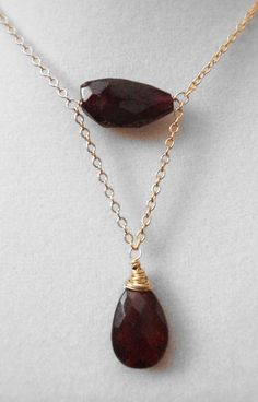 Faceted Garnet Nugget And Teardrop Briolette