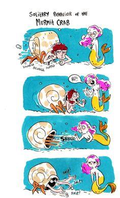 ink comics sketchbook Mermaids markers hermit crab merpeople mermit crab Decemmer