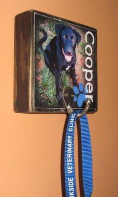 Pet Leash HOOK Photo Blocks Personalized by WasteNotRecycledArt, $18.75