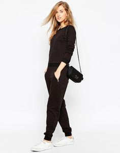 Image 4 ofASOS Easy Fit Jersey Jumpsuit with Long Sleeves and Zip Pocket