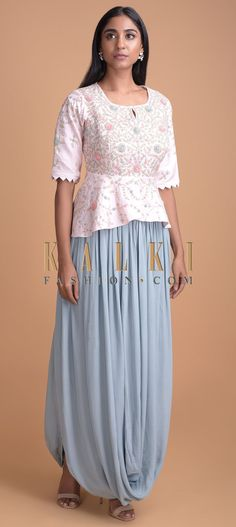 Baby Pink Peplum Top And Maya Blue Skirt With A Fancy Cowl Drape Online - Kalki Fashion Satin Skirt, Lace Skirt, Indian Designer Outfits, Triangle Pattern, Cotton Silk, Half Sleeves, Maya, Cowl, Peplum