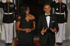 Michelle Obama Wows In Black Vera Wang Dress At State Dinner