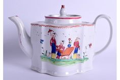 New Hall rare early commode/silver shape, shaped teapot and cover painted with oriental figures pattern No. 517 to base. c.1790-1800
