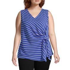Liz Claiborne, Blue Stripes, Tunic Tops, V Neck, Fabric, Color, Women, Closure, Content